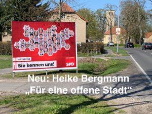 April 2019 Großplakat Heike Bergmann SPD Oranienburg